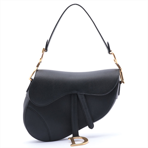 Christian Dior Saddle Leather Shoulder Bag Black