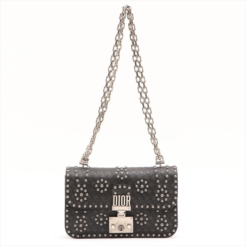 Christian Dior Studs Leather ChainShoulder Bag Black|RANK:A