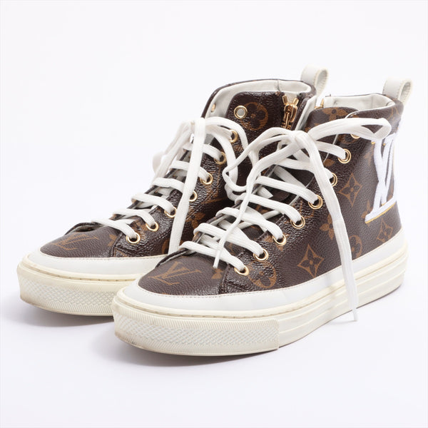 Louis Vuitton Stellar Line PVCx Leather High Top Sneakers 34.5 Ladies Brown Monogram