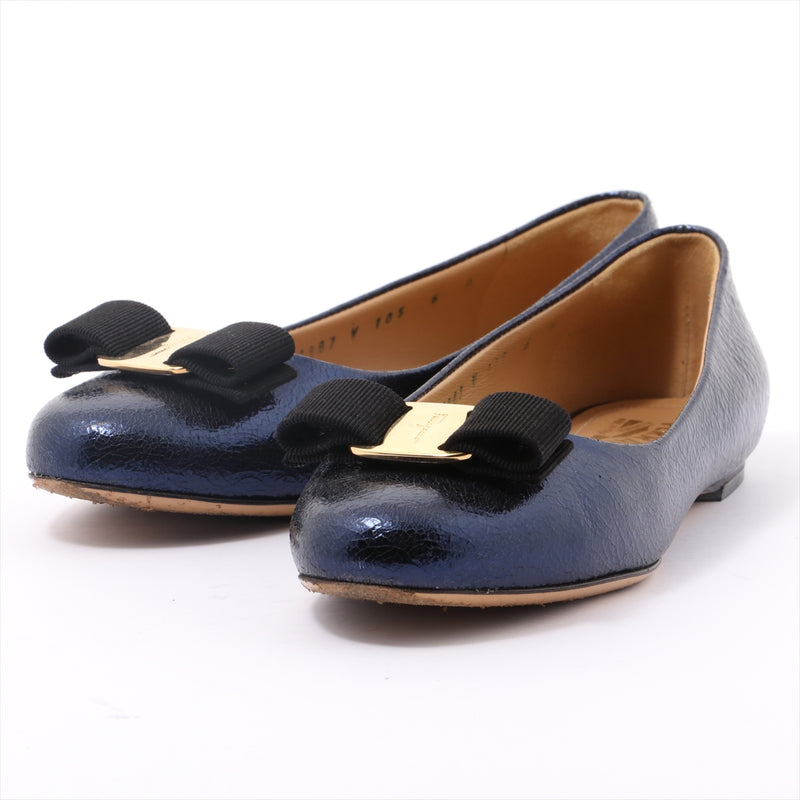 Ferragamo Metallic Leather Pumps 6 Ladies Blue Vala