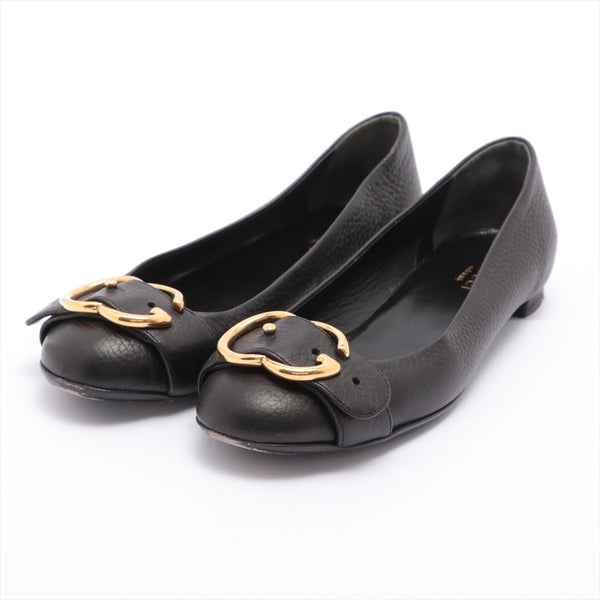 Gucci Leather Pumps 35.5 Ladies Black Double G|RANK:B