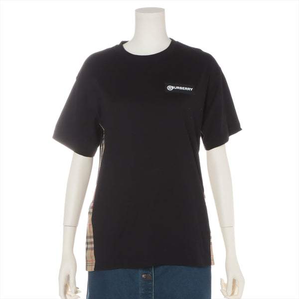 Burberry 20AW Cotton T-shirt XXS Ladies Black Vintage Check Panel
