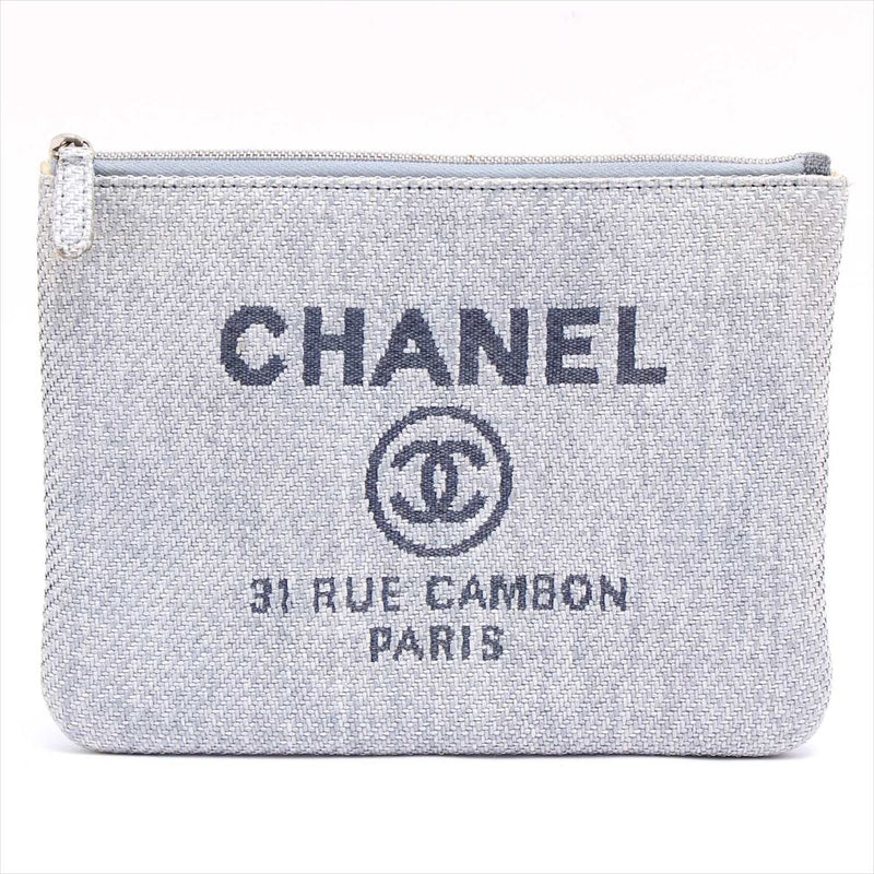 Chanel Deauville Canvas Clutch Bag Blue Silver Metal