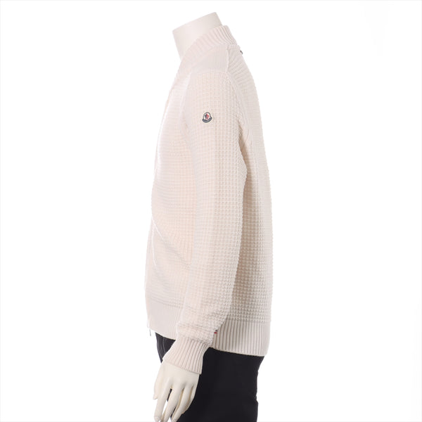 Moncler 19 Years Wool Knit S Mens Beige Zip Up