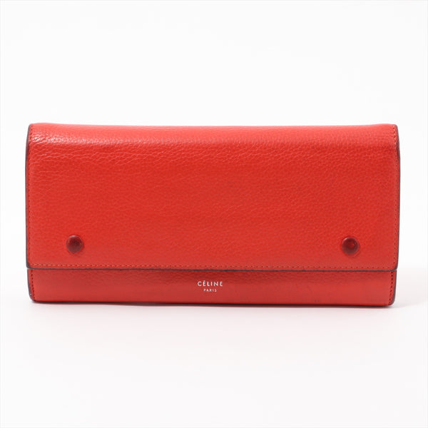 Celine Large Flap Multifunction Leather Wallet Red|RANK:B