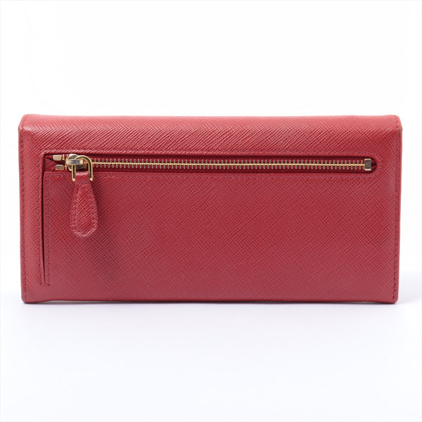 PRADA Saffiano Fiocco 1MH132 Leather Wallet with Red Pass Case