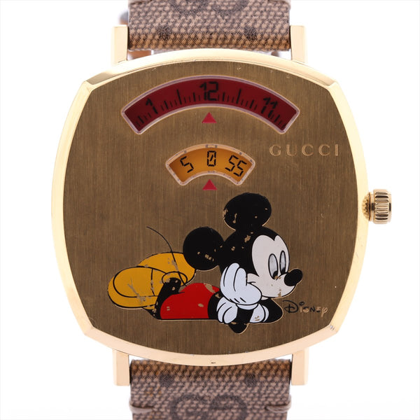 Gucci Grip Watch Mickey Collaboration Gold Platedx Leather QZ Yellow Dial