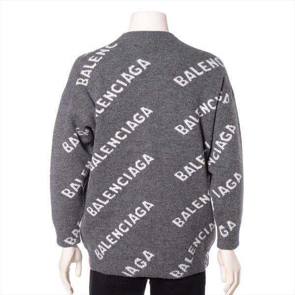Balenciaga 20 Years Wool x Polyester Knit ZS Men's Gray 620983 All Over Logo Knit|RANK:AB