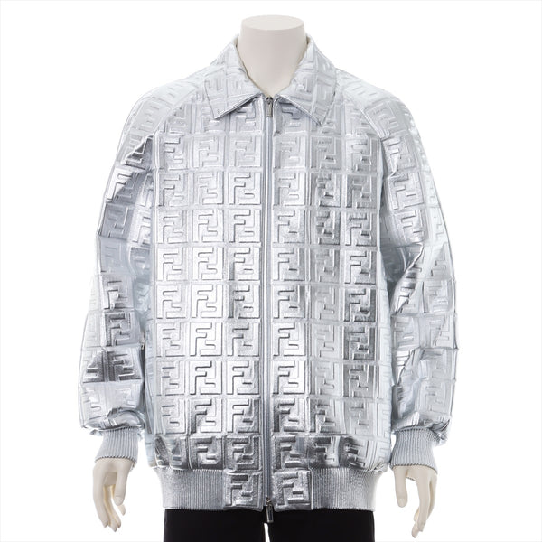Fendi Zucca 19 Years Lambskin Leather Jacket 48 Men's Silver