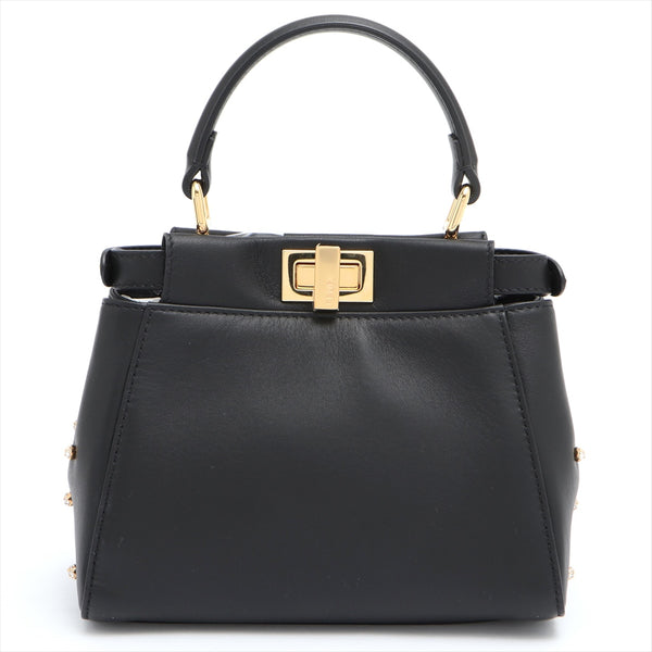 Fendi Peek-A-Boo XS Leather 2WAY Handbag Black 8BN309 Star Studs|RANK:A