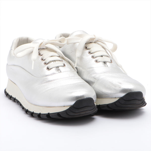 PRADA Leather Sneakers 38.5 Ladies Silver