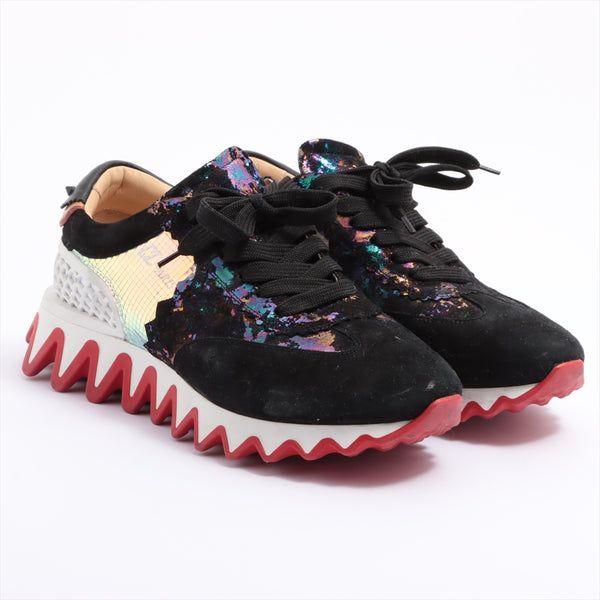 Christian Louboutin Suede Sneakers 41 1/2 Ladies Black x White LOUBISHARK