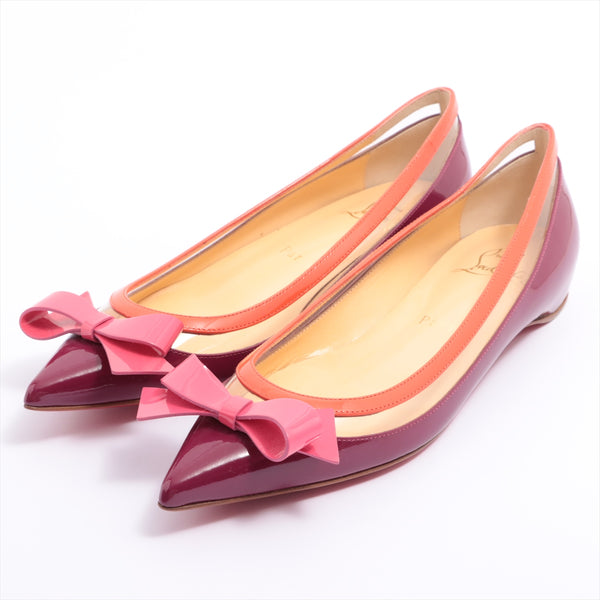 Christian Louboutin Patent Leather Flat Pumps 34 1/2 Ladies Purple Ribbon