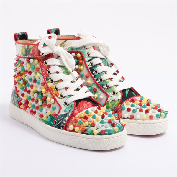 Christian Louboutin Lewis Spike Fabric Sneakers 35 Women's Multicolor LOUIS ORLATO Studs