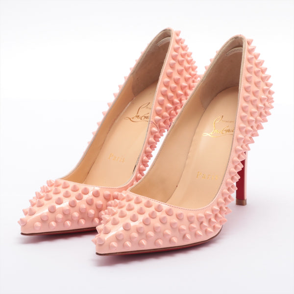Christian Louboutin Patent Leather Pumps 35.5 Ladies Pink Spike Studs|RANK:A