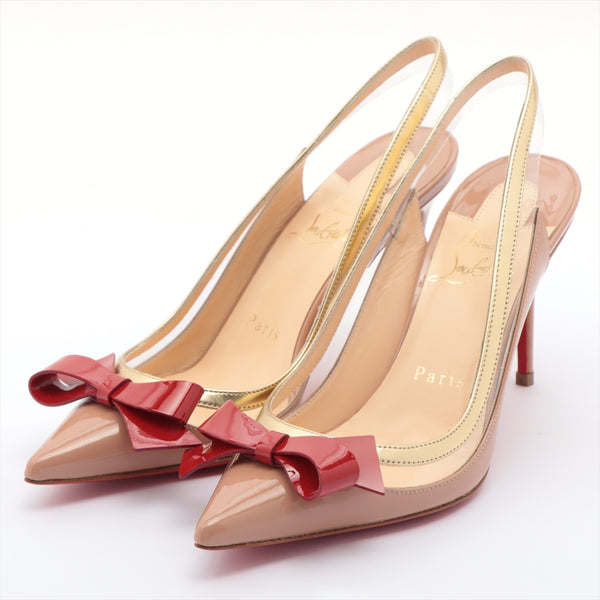 Christian Louboutin Patent Leather Pumps 35 Ladies Pink Ribbon|RANK:A
