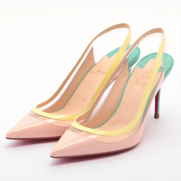 Christian Louboutin Patent Leather Pumps 35 Ladies Pink Beige|RANK:A