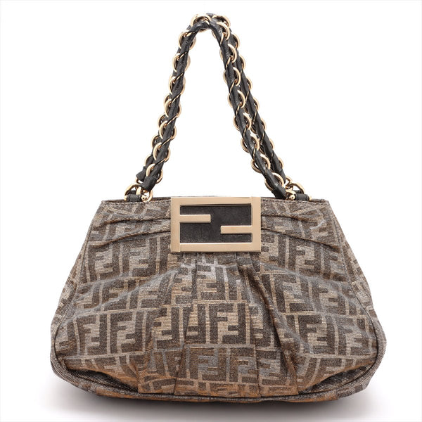 Fendi Zucca Canvas Chain Handbag Gold