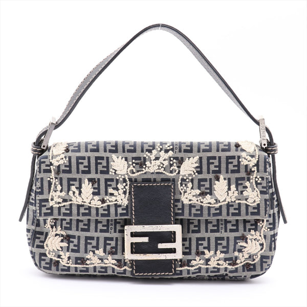 Fendi Mamma Bucket Zucchino Canvas x Leather Shoulder Bag Navy embroidery