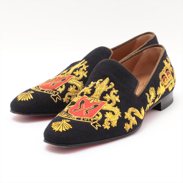 Christian Louboutin Dandelion Wool Loafers 42 Mens Black x Gold