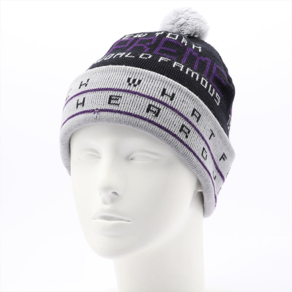 Supreme Knit Cap Acrylic Black Perforated
