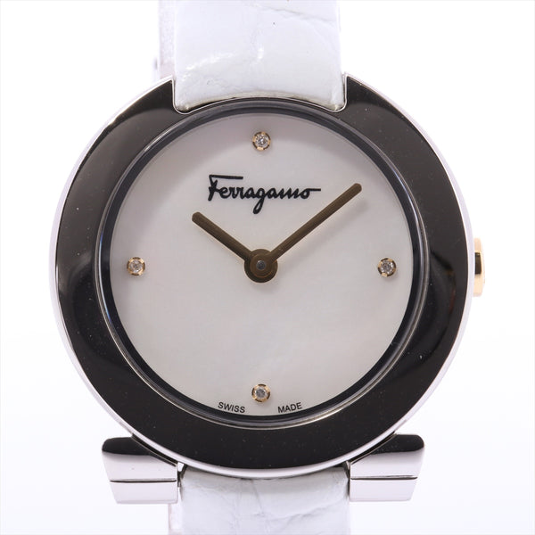 Ferragamo Gancini FAP Stainless Steelx Leather QZ Shell Dial