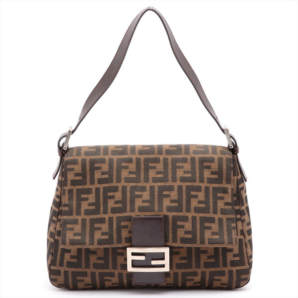 Fendi Mamma Bucket Zucca Canvas x Leather Shoulder Bag Brown