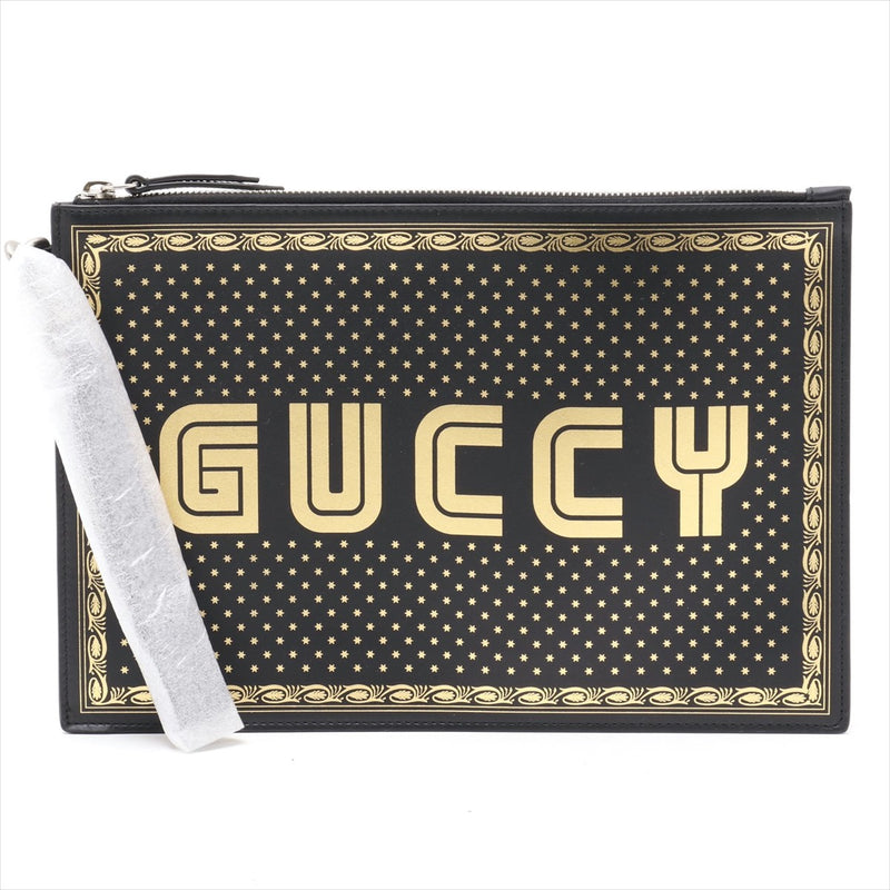 Gucci Gussy Leather Clutch Bag Black 510489