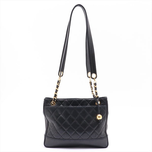 Chanel Matrasse Lambskin ChainTote Bag Black Gold Metal