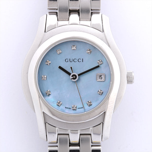 Gucci Ladies 5500L Stainless Steel QZ Blue Shell Dial