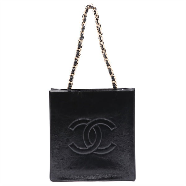 Chanel COCO Mark Leather ChainTote Bag Black Gold Metal 30s AS1945