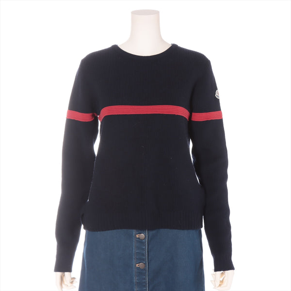 Moncler MAGLIONE 16 Years Wool x Polyester Knit L Ladies Navy