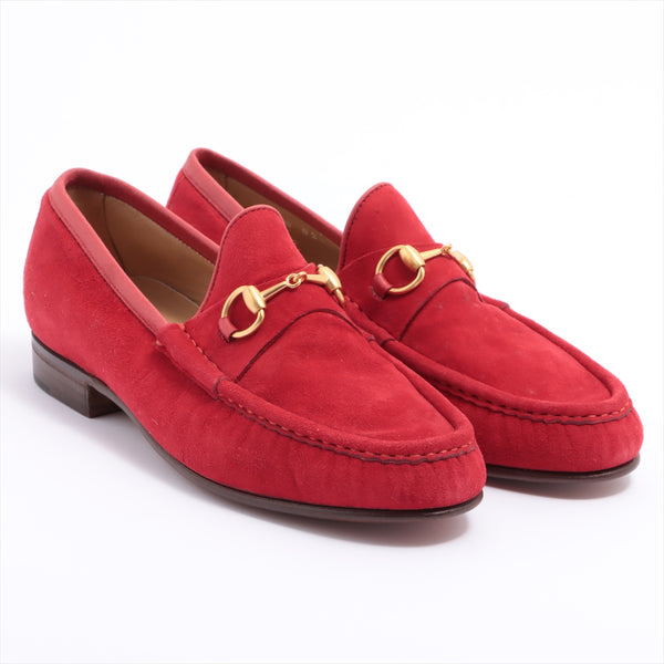 Gucci Horsebit Suede Loafers 37 1/2 Ladies Red