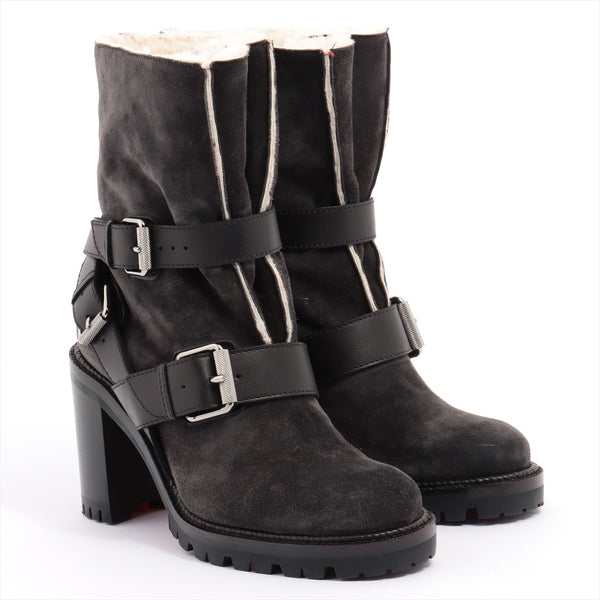 Christian Louboutin Suede x Leather Boots 34 Women's Black