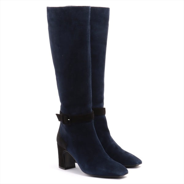 Hermes suede long boots 35 ladies navy