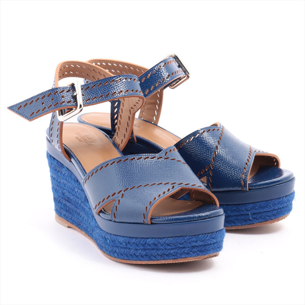 Hermes Patent Leather Wedge Sole Sandals 35 Ladies Blue