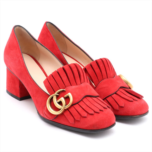 Gucci GG Marmont Suede Pumps 35 Ladies Red