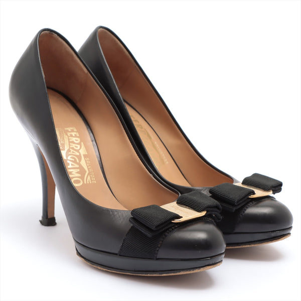 Ferragamo Vala Leather Pumps 5.5C Ladies Black Ribbon Sole Repair Available