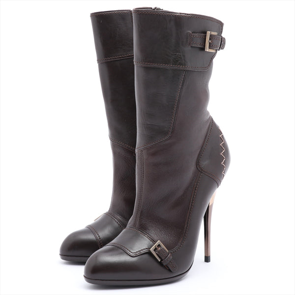 Ferragamo Leather Booties 5.5 Ladies Brown Sole Repair Available