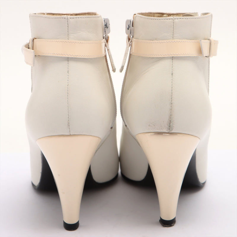 Chanel Leather Short Boots 37 Women's White COCO Mark|RANK:B