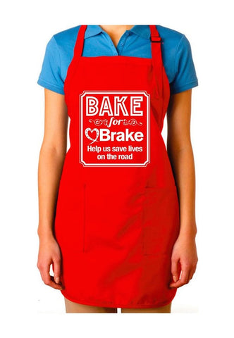 Red 'Bake for Brake' apron