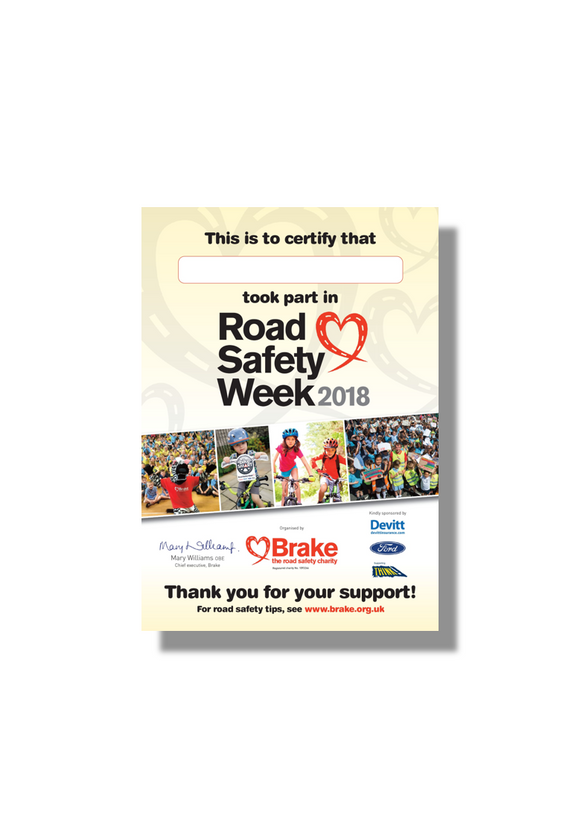 Road Safety Week Certificates (packs of 30)