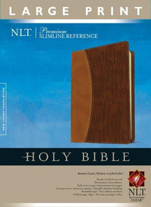 NLT Premium Slim Ref. Bible Large Print Leather Like Brown