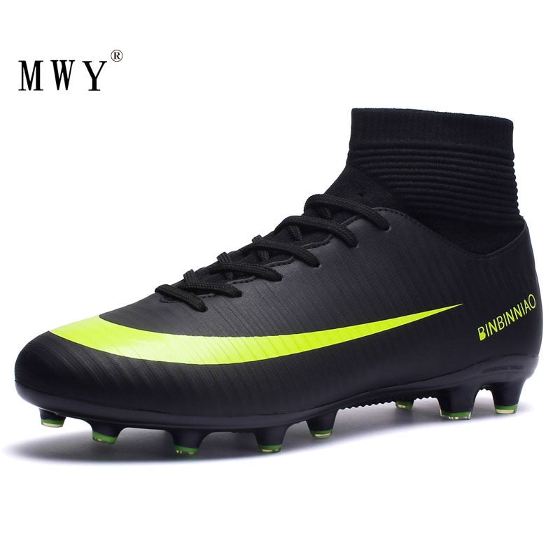 MWY Outdoor Men Boys Soccer Shoes Football Boots High Ankle Kids Cleats Women Training Sport Sneakers Size 35 to 45 Dropshipping