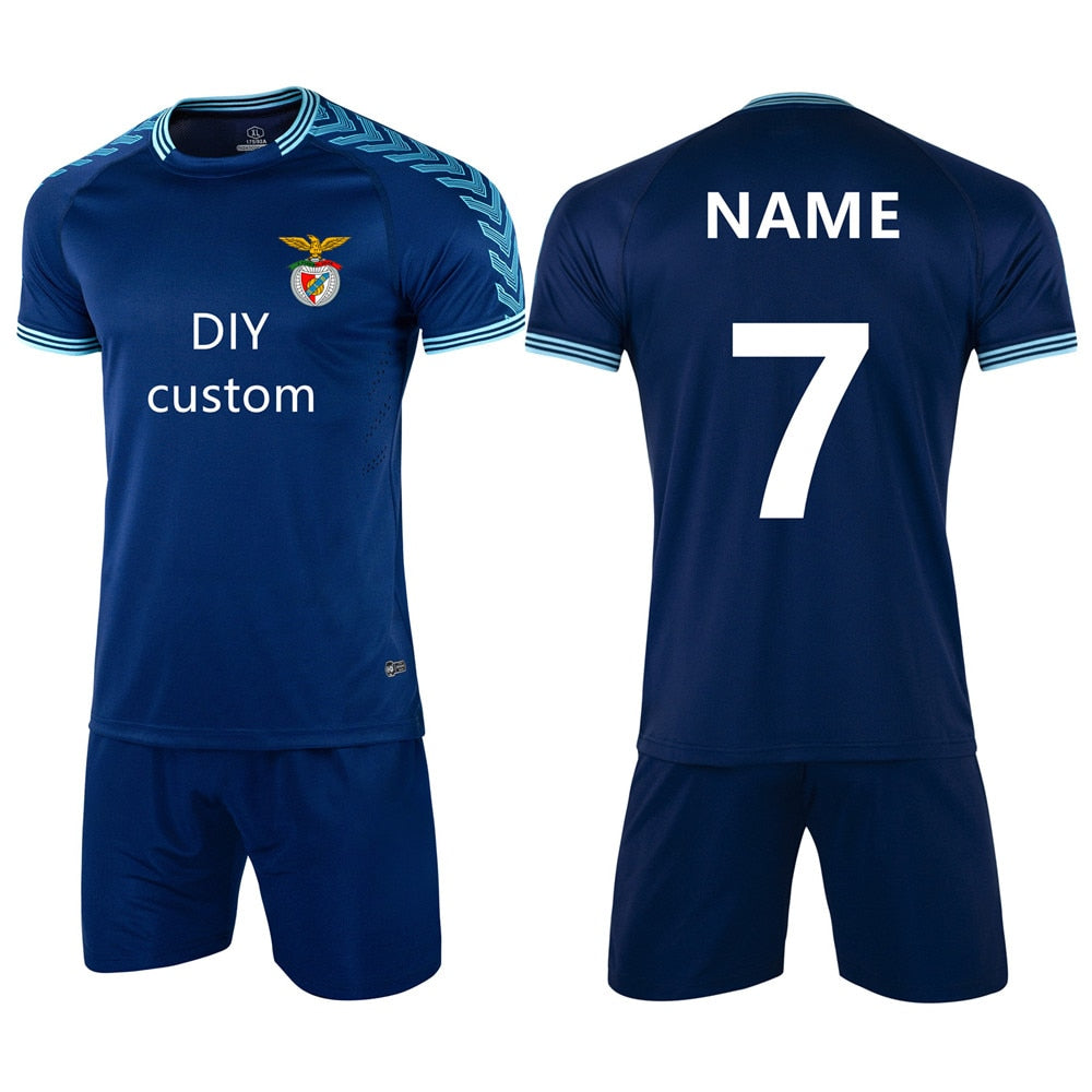 New Adult Children Football Jerseys Sets Boys girls Soccer Clothes Short Sleeve Kids Uniforms Tracksuit Jersey DIY customization