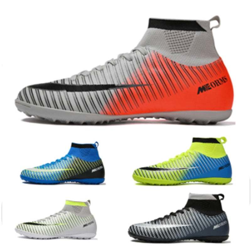 Men Football Boots Soccer Cleats Boots Long Spikes TF Spikes Ankle High Top Sneakers Soft Indoor Turf Futsal Soccer Shoes