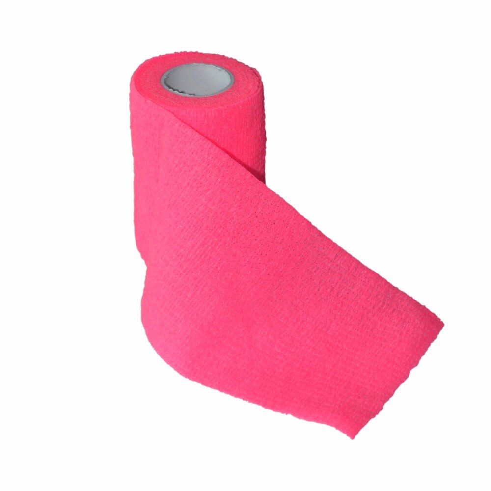 24Pcs/Lot 7.5cm*5m Self Adhesive Sports Tape Security CE/FDA Certification Waterproof Bandage Pink Color