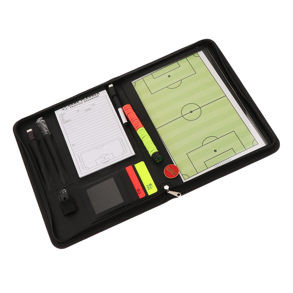 Soccer Coaching Coaches Board Referee Scorecard Zipper Case Holder Yellow Red Warning Card Wallet Whistle  Coin