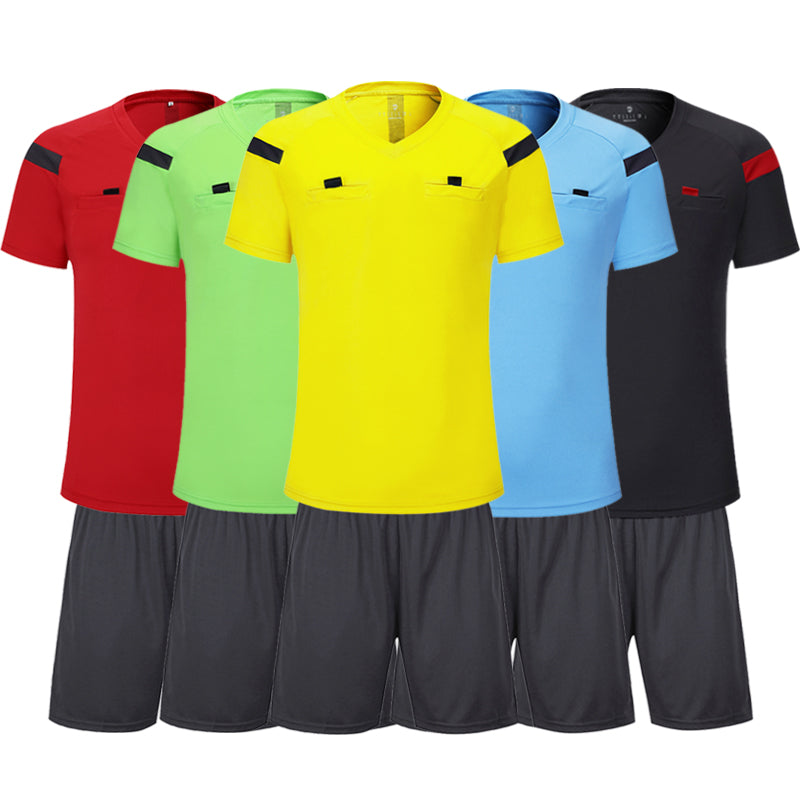 Shinestone soccer jersey professional men soccer referee uniform thai referee jersey shorts sets football referee tracksuits