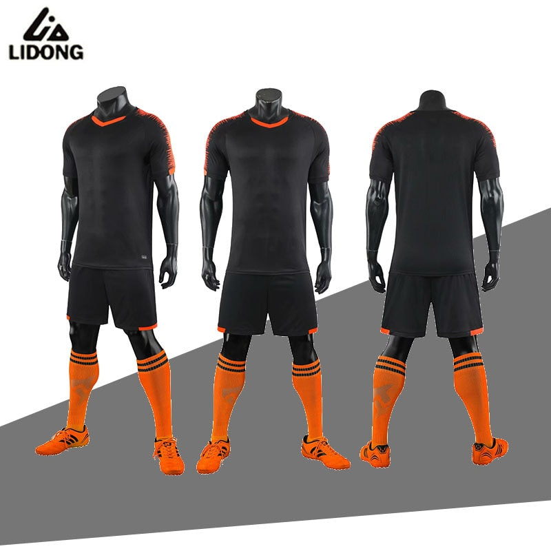 2019 LIDONG Football Kits adult Boys Soccer Sets Jersey Uniforms Futbol Training Suits black Polyester Sports wear short sleeve